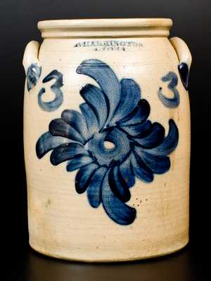 Fine T. HARRINGTON / LYONS Three-Gallon Stoneware Jar w/ Cobalt Fylfot Decoration