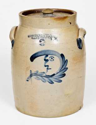 2 Gal. COWDEN & WILCOX / HARRISBURG, PA Stoneware Jar with Man-in-the-Moon Decoration