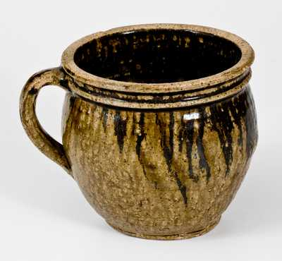 Edgefield District, SC Stoneware Chamberpot or Clabber Bowl with Iron Slip, circa 1850
