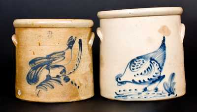 Lot of Two: New York Stoneware Bird-Decorated Crocks