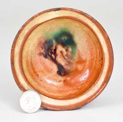 Fine Small-Sized Redware Dish with Tree Decoration