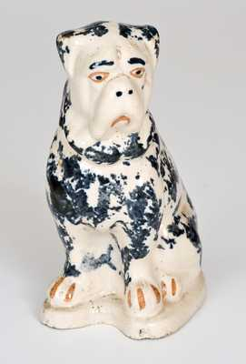 Unusual Two-Color Spongeware Boxer Dog Figure, Crooksville, Ohio, late 19th century