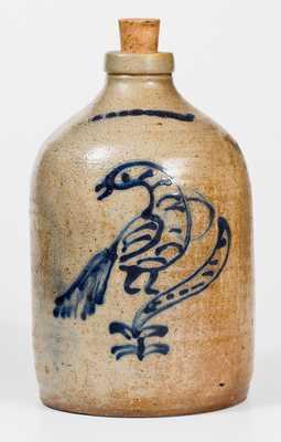 1 Gal. WHITES BINGHAMTON Stoneware Jug w/ Slip-Trailed Bird Decoration