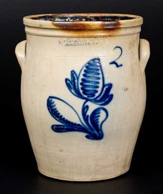 2 Gal. N. CLARK & CO. / ROCHESTER, NY Stoneware Jar with Floral Decoration