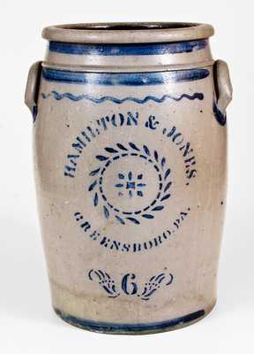 6 Gal. HAMILTON & JONES / GREENSBORO, PA Stoneware Jar w/ Baltimore Lid