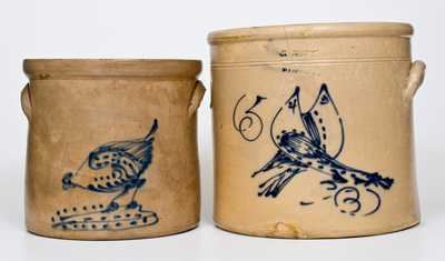 Lot of Two: NY State Stoneware Crocks with Bird Decorations
