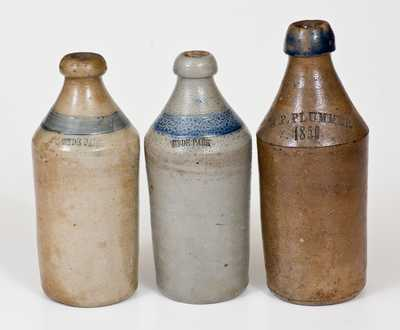 Lot of Three: Stoneware Bottles, 2 Marked HYDE PARK and J. P. PLUMMER / 1859 Example