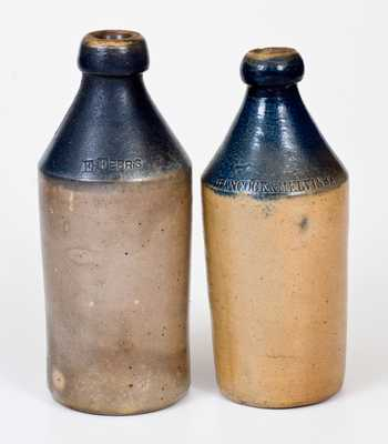 Lot of Two: Fine Stoneware Bottles with Cobalt Tops and Impressed Advertising