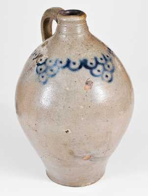 Unusual Ovoid Early Manhattan Stoneware Jug with Fish Scale Decoration