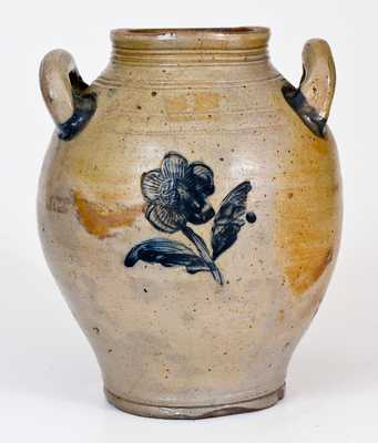 Stoneware Jug with Impressed Floral Decoration att. Jonathan Fenton, Boston, c1800