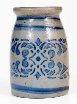 Western PA Stoneware Canning Jar with Stenciled Decoration