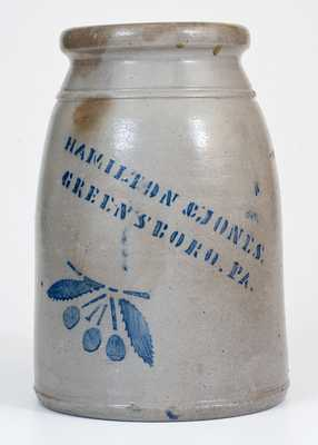 Fine HAMILTON & JONES / GREENSBORO, PA Stoneware Canning Jar w/ Cherries