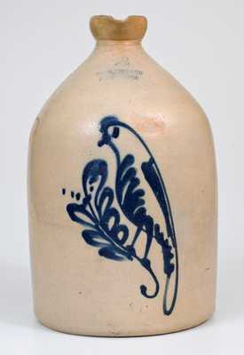 Unusual FORT EDWARD POTTERY CO. Stoneware Syrup Jug with Bird Decoration