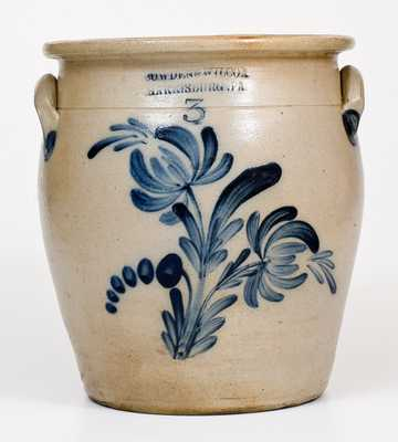 3 Gal. COWDEN & WILCOX / HARRISBURG, PA Stoneware Jar with Floral Decoration
