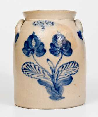 2 Gal. J. MANTELL / PENN YAN Stoneware Jar with Floral Decoration