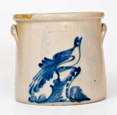 2 Gal. RIEDINGER & CAIRE / POUGHKEEPSIE, NY Stoneware Crock w/ Bird-on-Stump Decoration