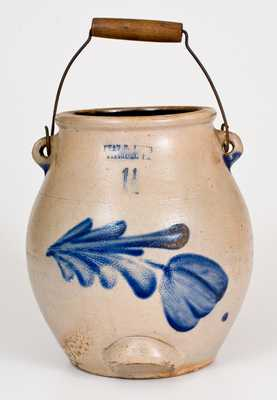 1 1/2 Gal. EVAN R. JONES / PITTSTON, PA Stoneware Batter Pail with Floral Decoration