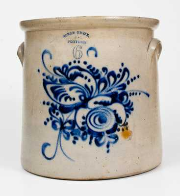 6 Gal. WEST TROY, NY POTTERY Stoneware Crock w/ Profuse Cobalt Decoration