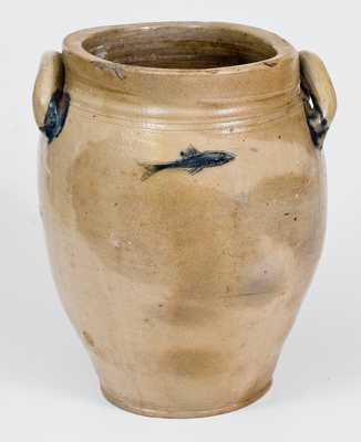 Probably Connecticut Stoneware Jar with Incised Bird and Fish Decoration