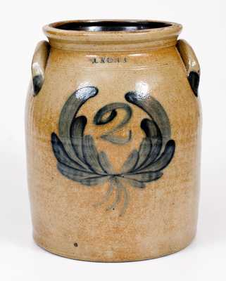 2 Gal. LYONS (New York) Stoneware Jar with Wreath Decoration