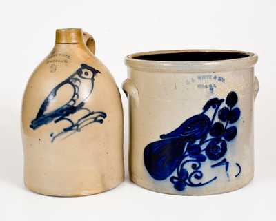 Lot of Two: New York Stoneware with Bird Designs