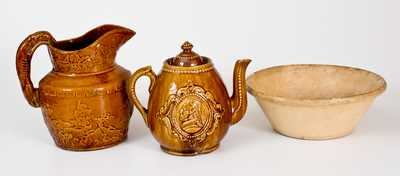 Lot of Three: Rare Signed Yellow and Rockingham Ware, NJ and Vermont