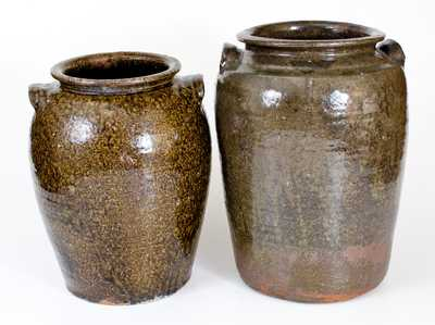 Lot of Two: Alkaline-Glazed Stoneware Jars att. Catawba Valley, NC