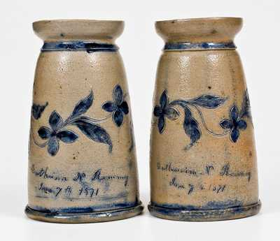 Very Important Pair of Stoneware Vases made by Henry Remmey, Jr. for his wife, Catherine