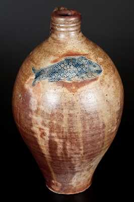 Excellent Boston Stoneware Jug w/ Impressed Fish Decoration, early 19th century