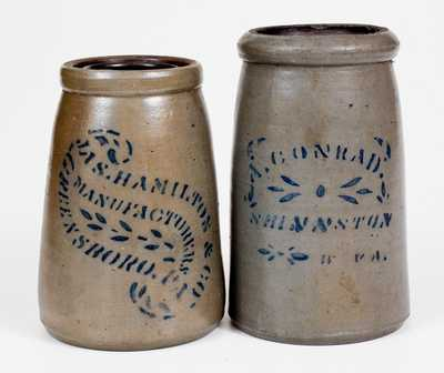 Two Stoneware Canning Jars, Western PA and West Virginia origin, circa 1875