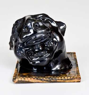 George Ohr Pottery Cougar Inkwell, Inscribed