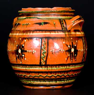 Rare and Important Alamance County, NC Redware Sugar Jar, c1790-1820