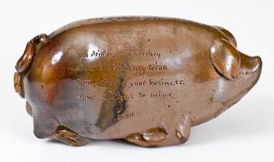 Rare Anna Pottery Stoneware Pig Flask with Incised Poem, 1880