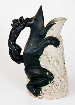 Very Rare Anna Pottery Frog Pitcher with Monkey Handle