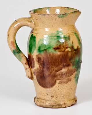 Shenandoah Valley Multi-Glazed Redware Cream Pitcher, Strasburg, VA