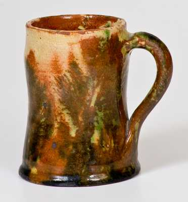 Very Rare Shenandoah Valley Redware Mug w/ Mocha Seaweed Design, possibly Solomon Bell