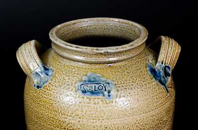 Rare and Important S. LOY (Solomon Loy, Alamance County, NC) Cobalt-Decorated Stoneware Jar