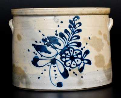 4 Gal. Stoneware Crock with Floral Decoration
