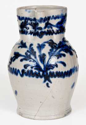 Baltimore Stoneware Pitcher w/ Exceptional Slip-Trailed Floral Decoration, c1820