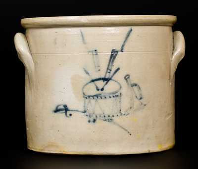 Unusual att. MacQuoid (Manhattan) Crock w/ Detailed Drum, Sword, Bugle Decoration