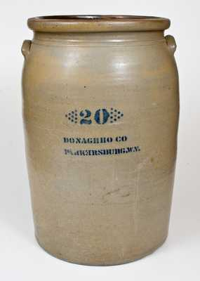 Rare 20 Gal. A. P. DONAGHHO CO / PARKERSBURG, W. Va. Stoneware Jar w/ Reversed