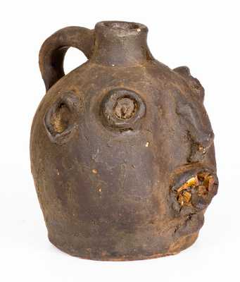 Rare Glazed Stoneware Face Jug, probably Brown Family, Atlanta, GA, c1900