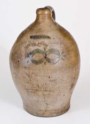 Unusual WARNE / S. AMBOY N. JERSY Stoneware Jug w/ Stamped Clam Shell Decoration