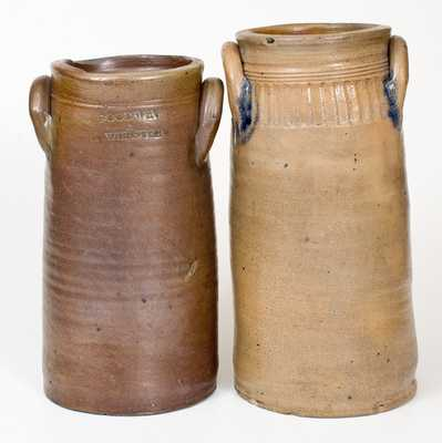 Lot of Two: Connecticut Stoneware Churns incl. Signed GOODWIN & WEBSTER Example