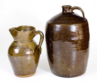 Lot of Two: Southern Alkaline-Glazed Stoneware Jug and Pitcher