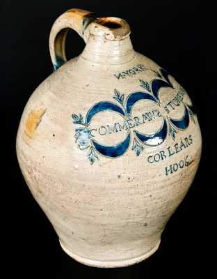 Exceedingly Rare and Fine Thomas Commeraw Stoneware Jug, African-American New York Potter