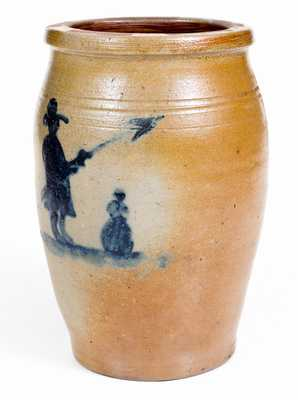 Exceptional Morgantown, WV Stoneware Jar w/ Civil War Soldier and Woman Motifs