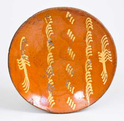 Rare Large-Sized Philadelphia Redware Charger with Slip Decoration