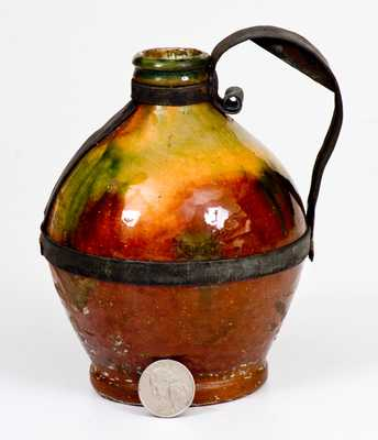 Bristol County, MA Copper-Glazed Redware Jug w/ Tin Make-Do Handle