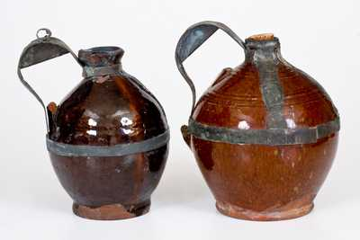 Two 19th Century American Redware Jugs with Tin Make-Do Handles